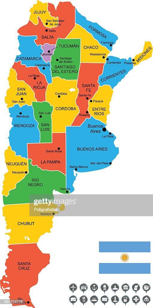 Mappa vettoriale dettagliata dell'Argentina : Illustrazione stock