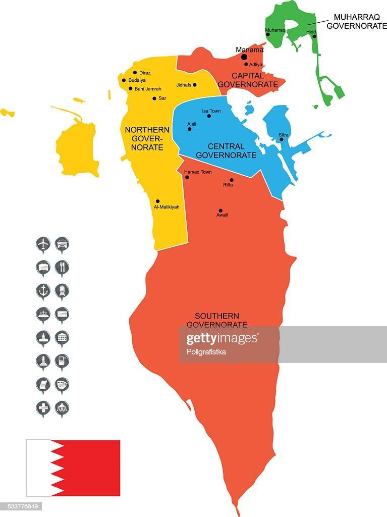 Mappa vettoriale dettagliata del Bahrain : Illustrazione stock