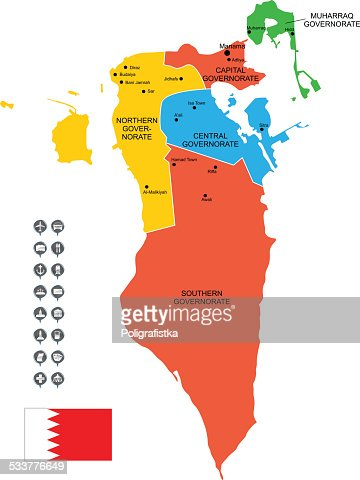 Detailed Vector Map Of Bahrain Vector Art Getty Images - Bahrain map vector