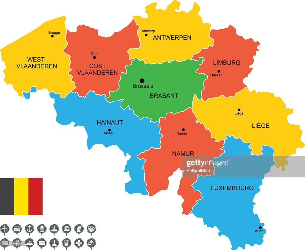 Detailed Vector Map Of Belgium Vector Art Getty Images - Map of belgium