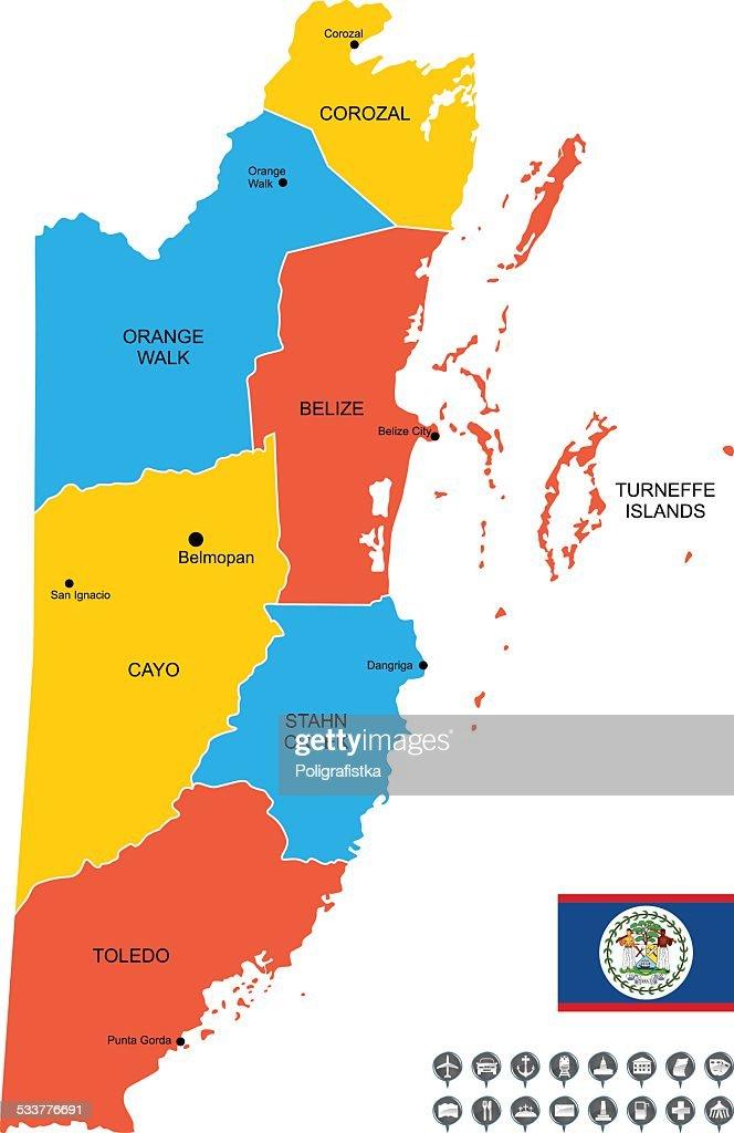 Mappa vettoriale dettagliata del Belize : Illustrazione stock
