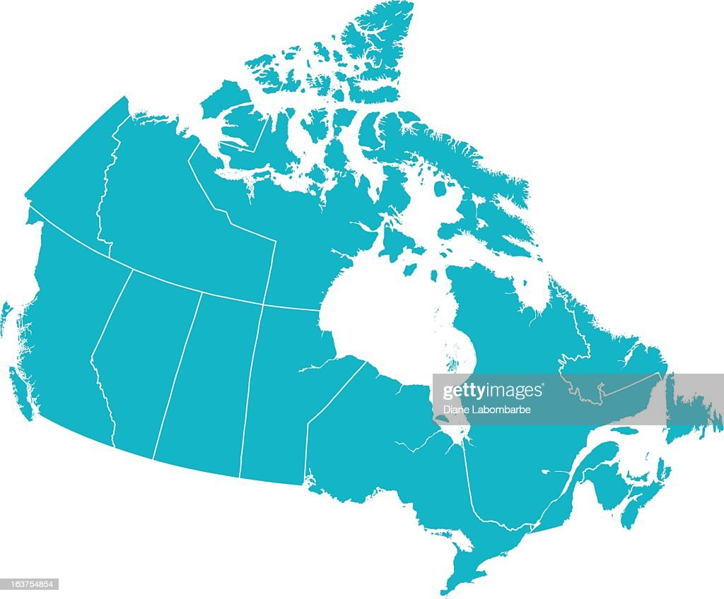 Detailed Vector Map of Canada with Provincial Borders in White.