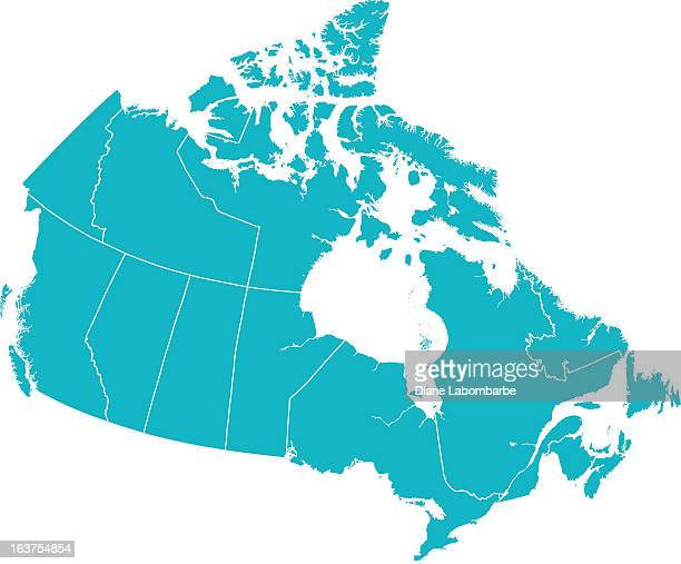 detailed vector map of canada with provincial borders in white. - intricacy stock illustrations