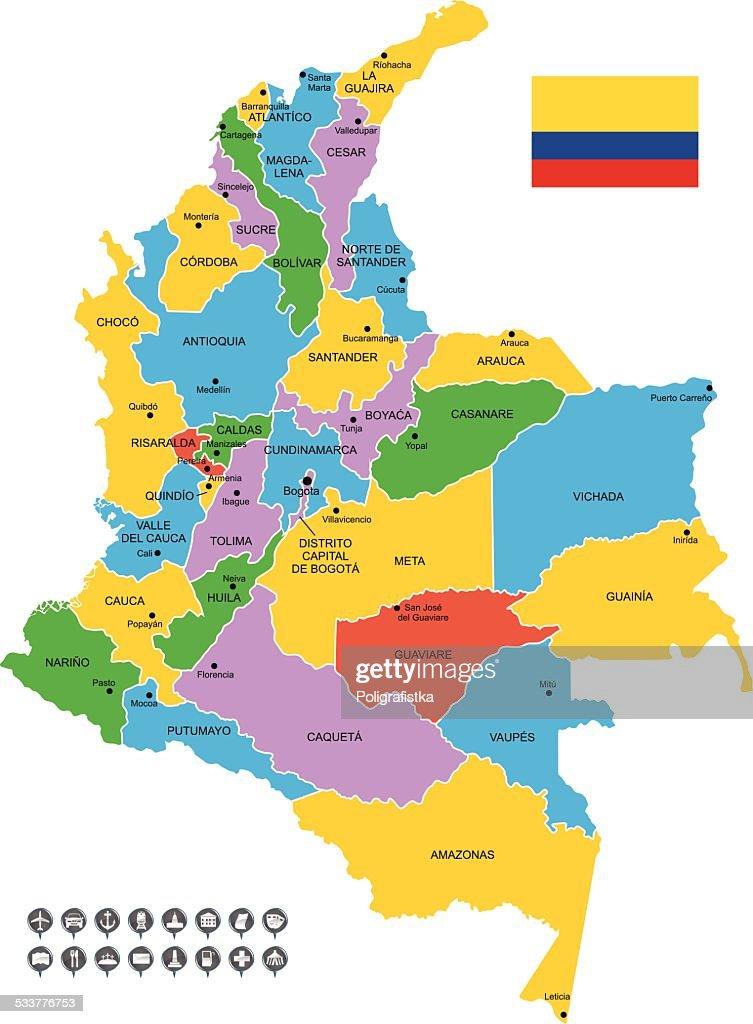 Vettoriale dettagliata mappa di Colombia : Illustrazione stock