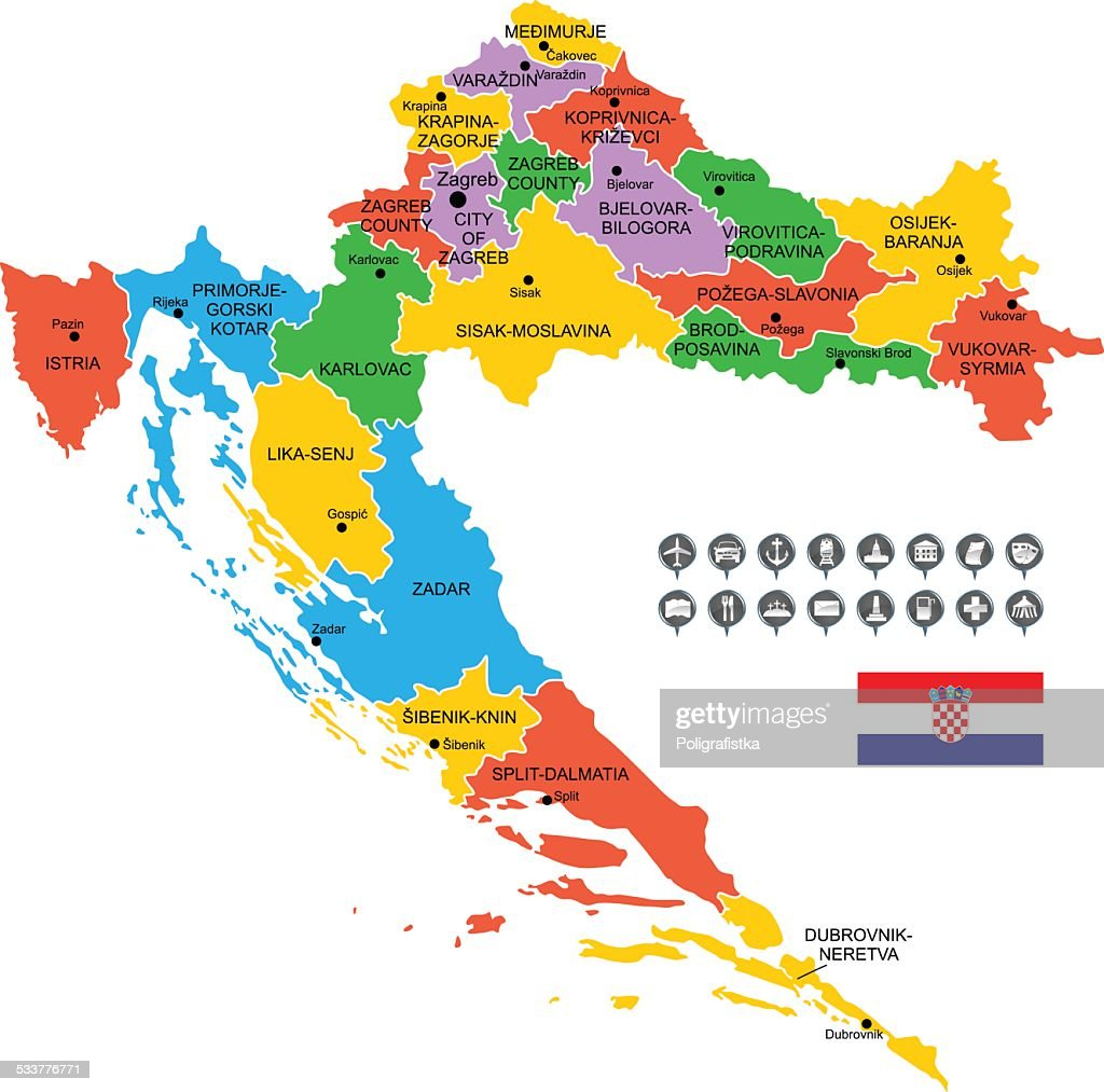 Detailed Vector Map of Croatia : stock illustration