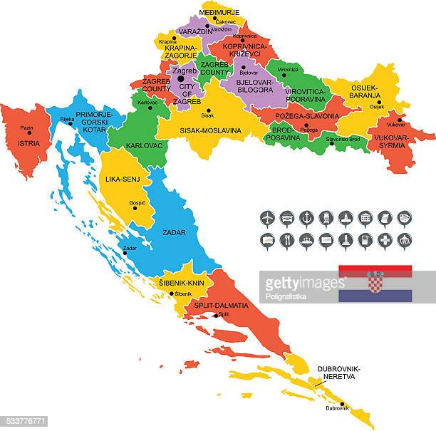 detailed vector map of croatia - normandy stock illustrations, clip art, cartoons, & icons