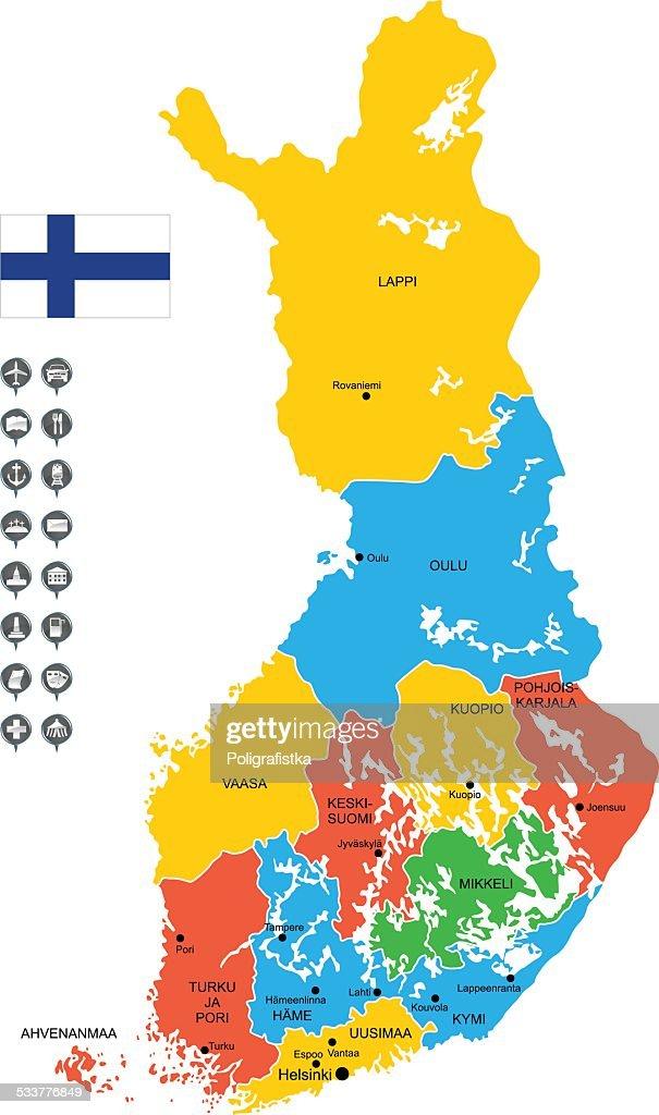 Mappa vettoriale dettagliata di Finlandia : Illustrazione stock