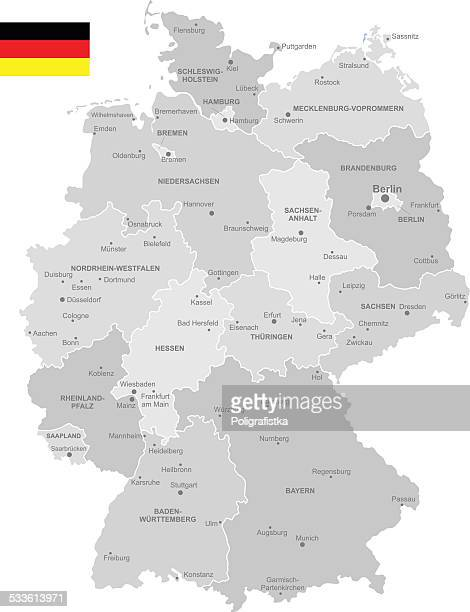 detailed vector map of germany - germany stock illustrations