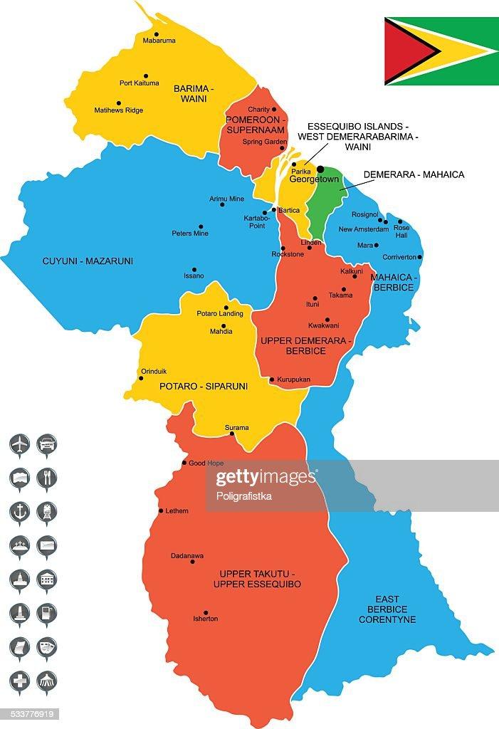 Mappa vettoriale dettagliata di Guyana : Illustrazione stock
