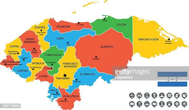 ilustraciones, imágenes clip art, dibujos animados e iconos de stock de mapa vectorial detallada de honduras - honduras