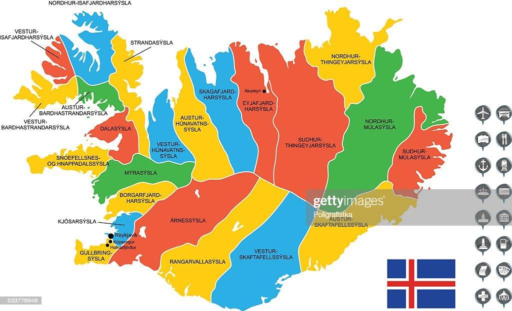 Dettagliata mappa vettoriale di Islanda : Illustrazione stock