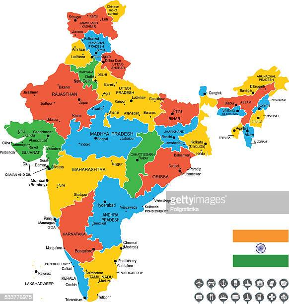 detailed vector map of india - verification stock illustrations, clip art, cartoons, & icons