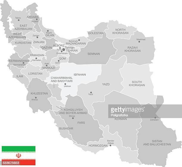 detaillierte vektor-karte des iran - iran stock-grafiken, -clipart, -cartoons und -symbole