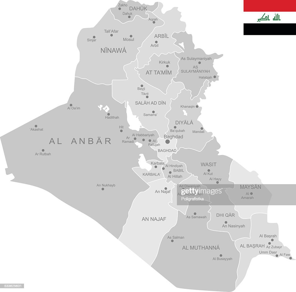 Detailed Vector Map Of Iraq Vector Art Getty Images