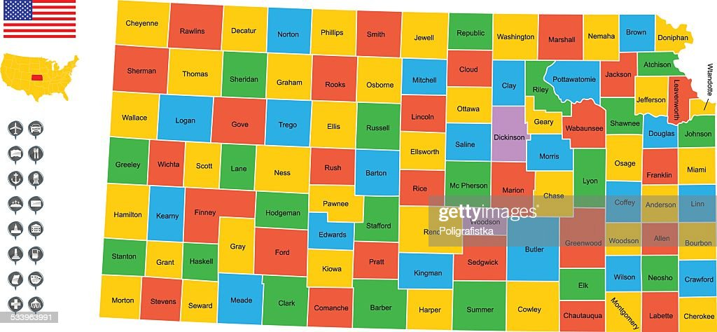 Detailed Vector Map Of Kansas stock illustration - Getty Images on