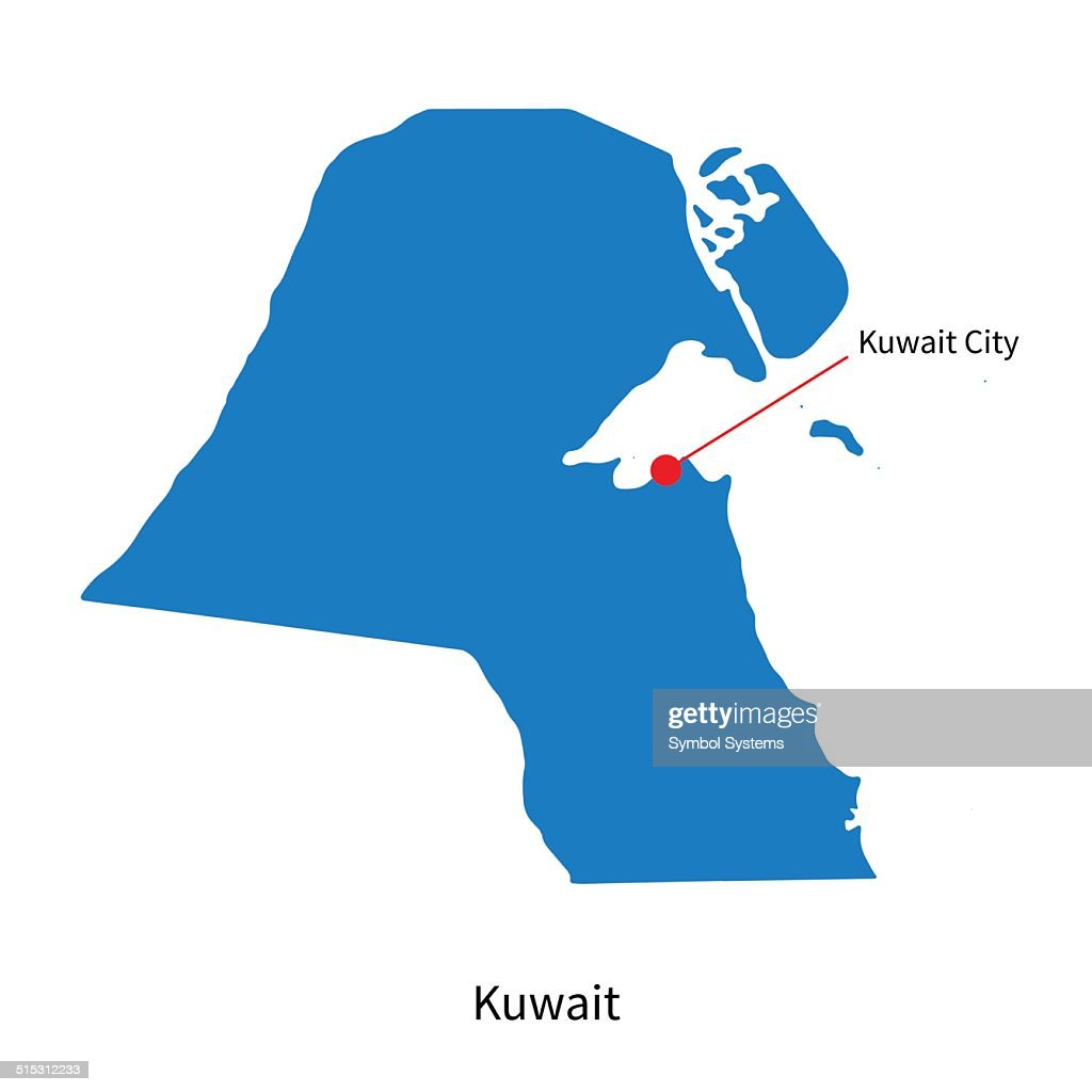 Detailed vector map of Kuwait and capital city