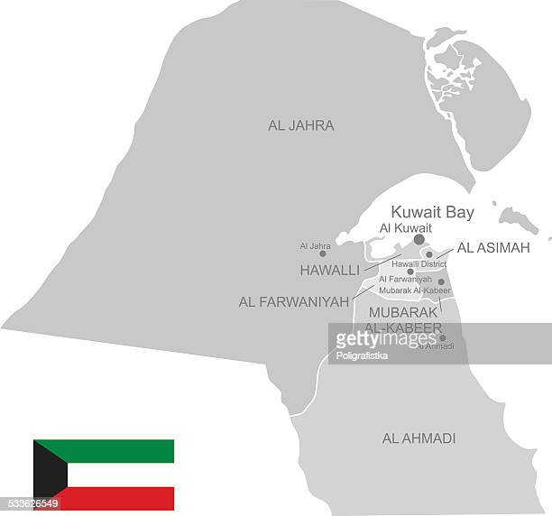 detailed vector map of kuwait - kuwait stock illustrations, clip art, cartoons, & icons