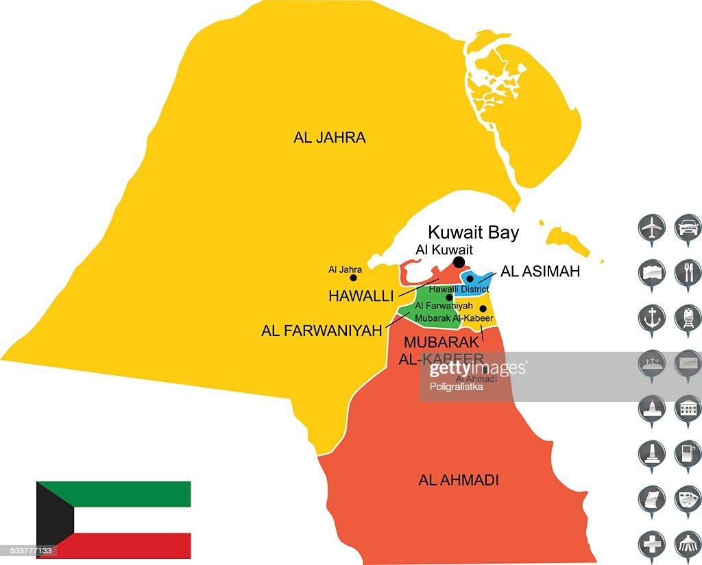Mappa vettoriale dettagliata del Kuwait : Illustrazione stock