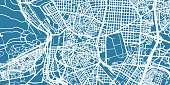 Detailed vector map of Madrid, scale 1:30 000, Spain