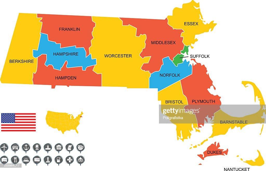 Detailed Vector Map of Massachusetts