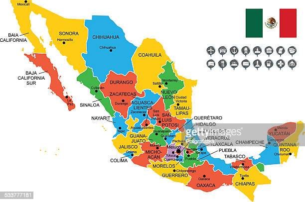 ilustrações de stock, clip art, desenhos animados e ícones de detalhada vetor mapa do méxico - mexico