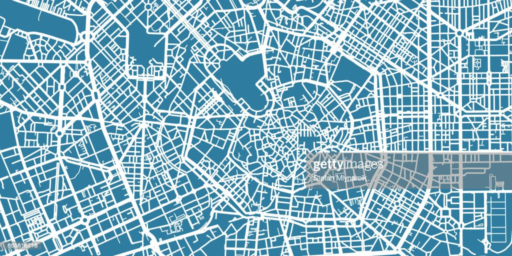 Detailed vector map of Milan, scale 1:30 000, Italy