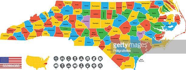 ilustraciones, imágenes clip art, dibujos animados e iconos de stock de detallado vector map de carolina del norte - fayetteville carolina del norte