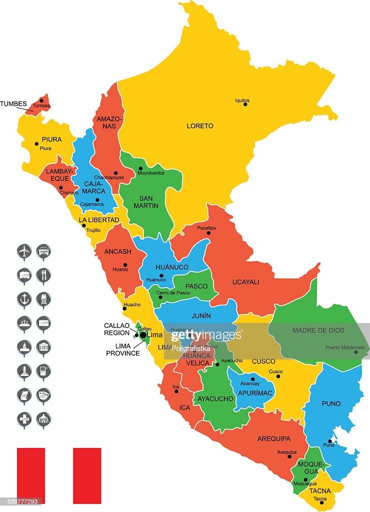Mappa vettoriale dettagliata del Perù : Illustrazione stock