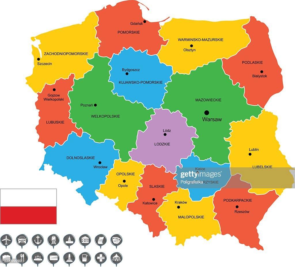 Vettoriale dettagliata mappa di Polonia : Illustrazione stock
