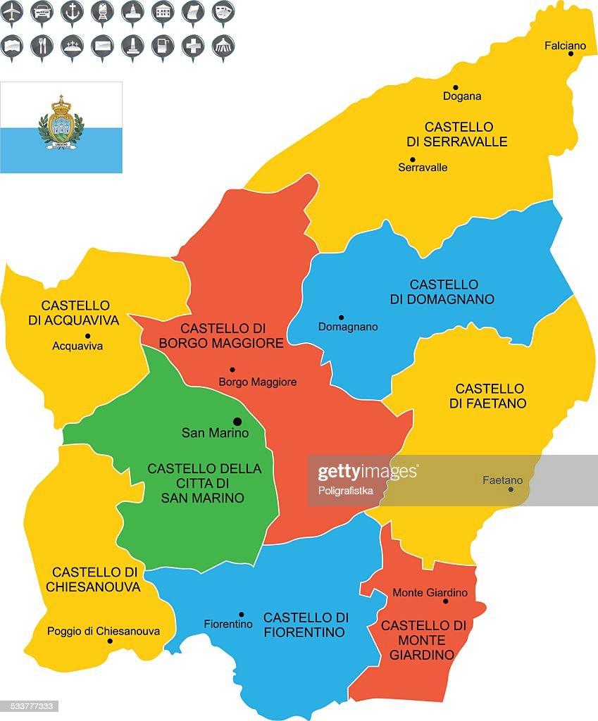 Detailed Vector Map Of San Marino Vector Art Getty Images