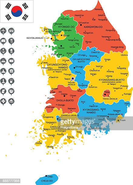 detailed vector map of south korea - seoul stock illustrations, clip art, cartoons, & icons