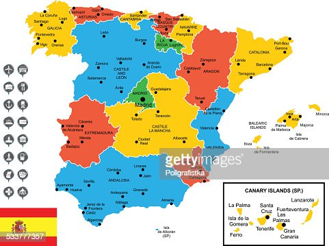 Detailed Vector Map Of Spain Vector Art Getty Images - Map of spain