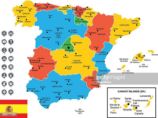 detailed vector map of spain - oviedo stock illustrations, clip art, cartoons, & icons