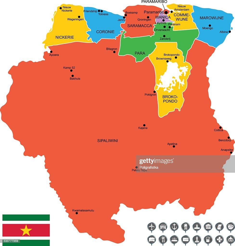 Mappa vettoriale dettagliata di Suriname : Illustrazione stock