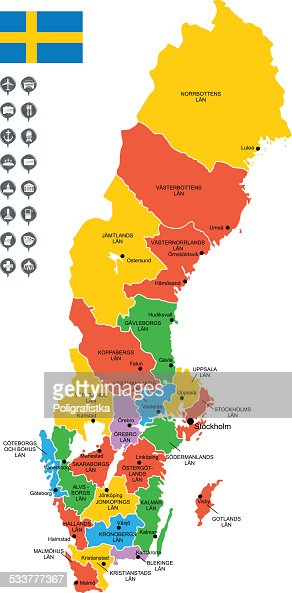 Detailed Vector Map Of Sweden Vector Art Getty Images - Map of sweden