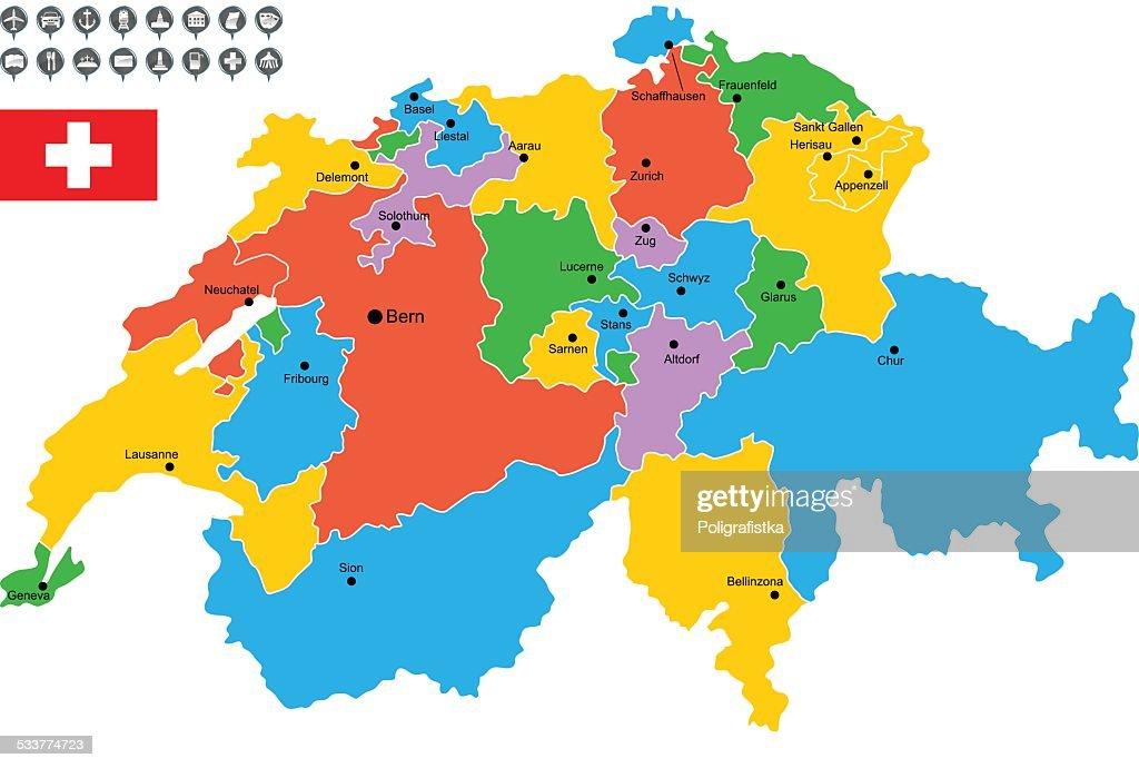 Mappa vettoriale dettagliata di Svizzera : Illustrazione stock