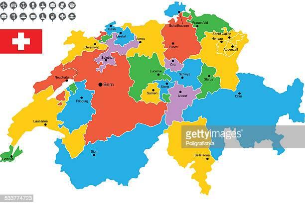 ベクトルマップのスイスの詳細 - ヴォー州点のイラスト素材/クリップアート素材/マンガ素材/アイコン素材