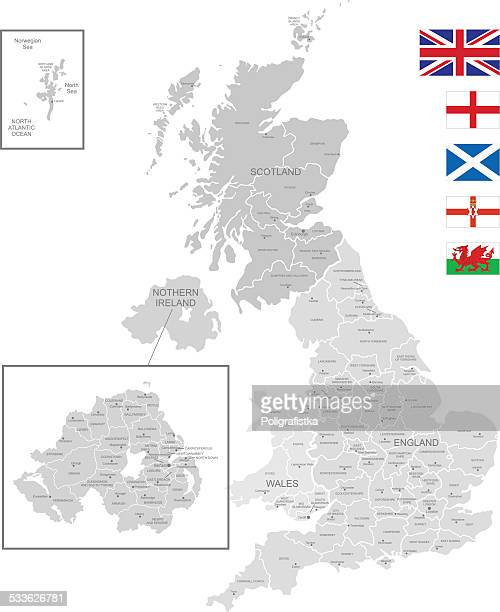 detailed vector map of united kingdom - intricacy stock illustrations