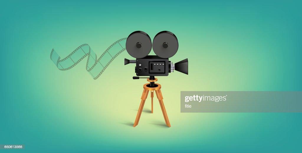 Detailed Vector Movie Camera Illustration : stock illustration