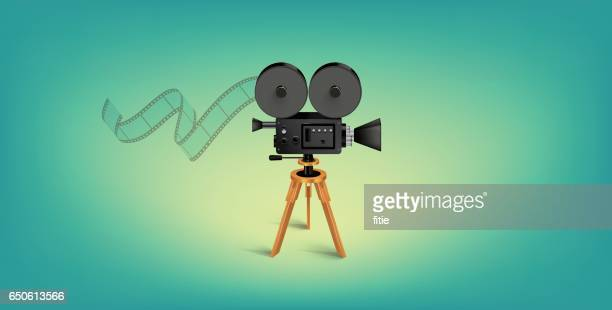 Detailed Vector Movie Camera Illustration