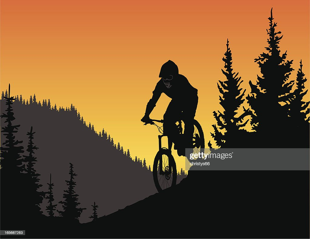detailed vector silhouette of a downhill mountain biker in trees vector art