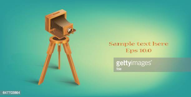 ilustrações de stock, clip art, desenhos animados e ícones de detailed vector vintage camera - maquina fotografica antiga