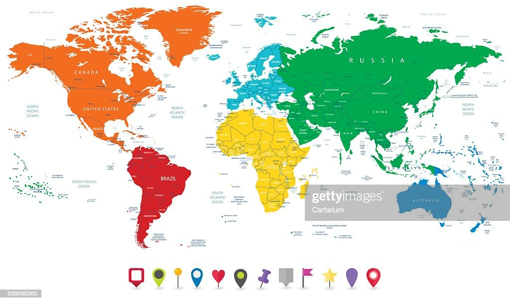 Detailed vector world map with colorful continents and flat map detailed vector world map with colorful continents and flat map vector art gumiabroncs Image collections