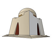 Detailed vector/illustration of Mazar-e-Quaid situated in Karachi Pakistan