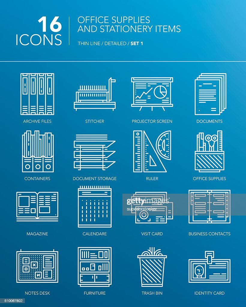 Detailed white thin line icons. Office supplies and stationery items