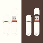 Detailed White USB Flash Drive
