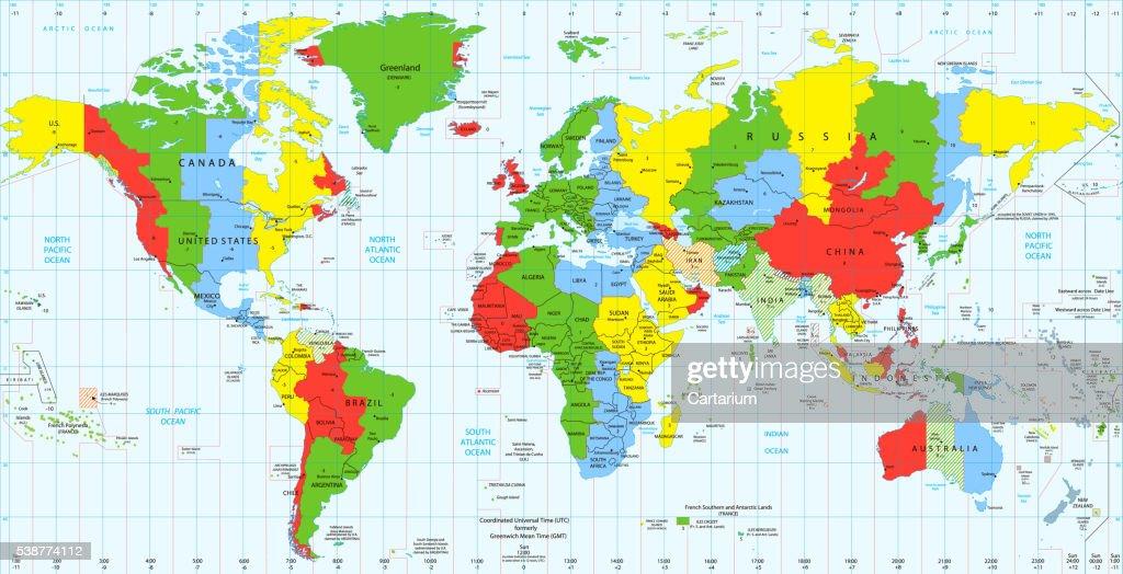 Detailed World Map Standard Time Zones Stock-Illustration ...