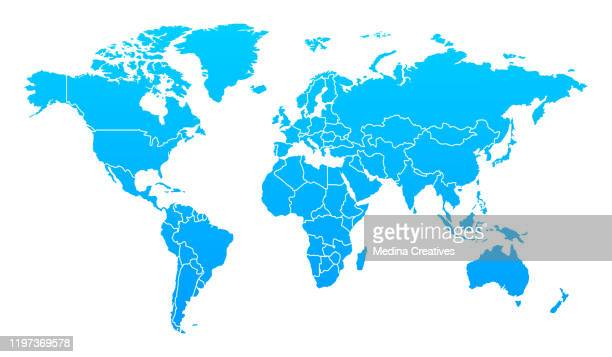 detailed world map with countries - international politics stock illustrations
