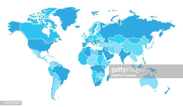 detailed world map with countries - world politics stock illustrations