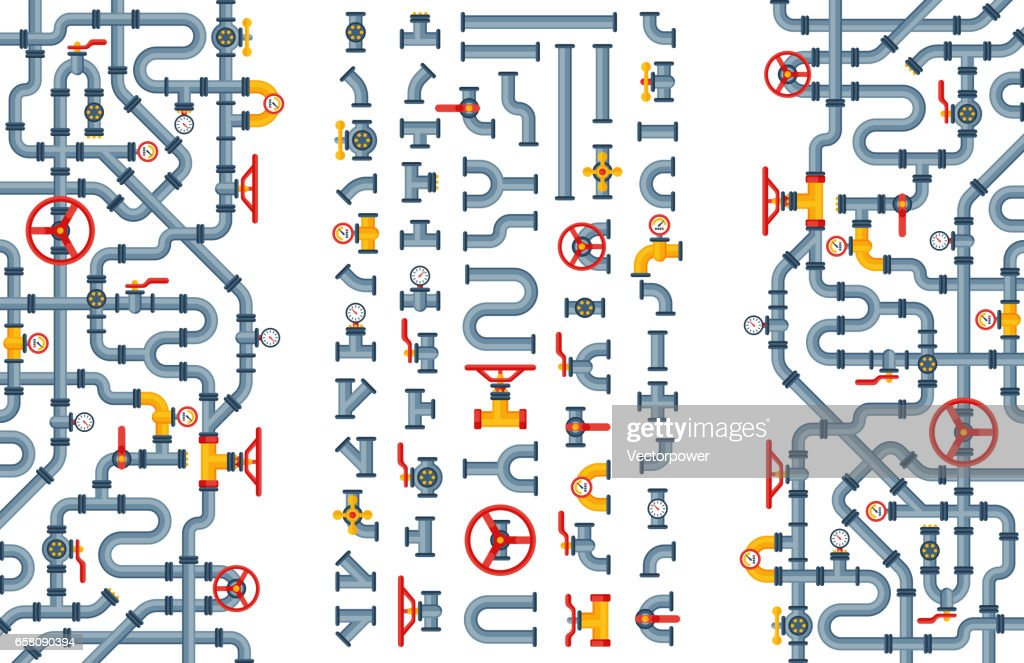 Details pipes different types collection of water tube industry gas valve construction and oil industrial pressure technology plumbing vector illustration